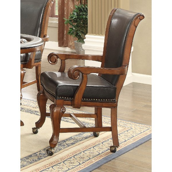 Brown Cherry And Black Caster Arm Chair Franklin