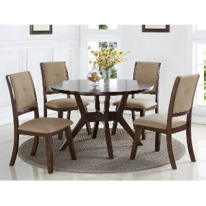 ... Espresso 5 Piece Round Dining Set   Barney Collection