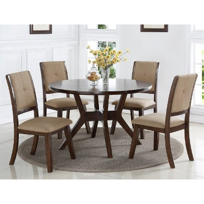 Espresso 5 Piece Round Dining Set   Barney Collection