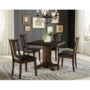 warm gray 5 piece drop leaf dining set
