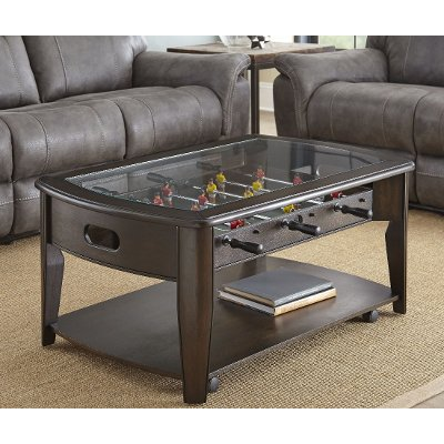 dark walnut brown coffee table with foosball | rc willey furniture