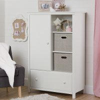 10468 White Armoire with Drawer - Cotton Candy