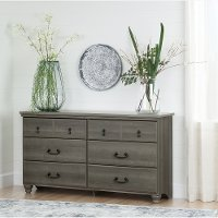 10239 Gray Maple 6 Drawer Dresser - Noble