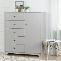 10234 Soft Gray 5 Drawer Door Chest - Vito