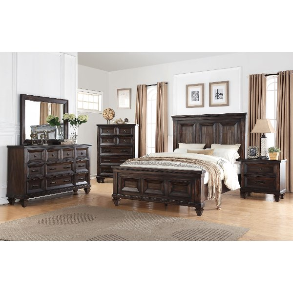 Classic Traditional Walnut Brown 6 Piece King Bedroom Set   Sevilla