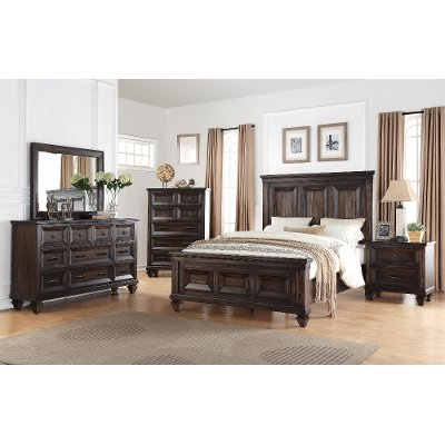 walnut brown classic traditional 6 piece king bedroom set sevilla - Bed Frame For King Size Bed