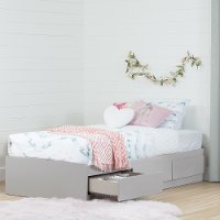 10236 Soft Gray Twin Mates Bed (39 Inch) with 3 Drawers - Vito