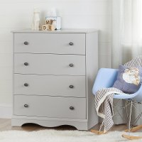 10229 Soft Gray 4 Drawer Chest - Angel