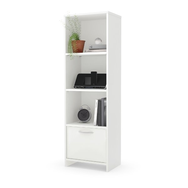 10249 White 3 Shelf Bookcase With Door