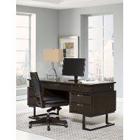 Hickory Brown Executive Desk - Harper Point