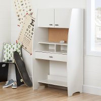 10196 White Desk with Hutch and Storage - Reevo
