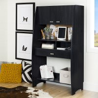 10197 Black Desk with Hutch and Storage - Reevo