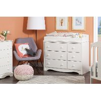 10208 White Changing Table Dresser - Angel