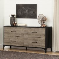 10496 Weathered Oak 4-Drawer Double Dresser - Valet