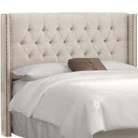 141NB-BRLNNTLC Linen Talc Tufted Wingback Full Size Headboard