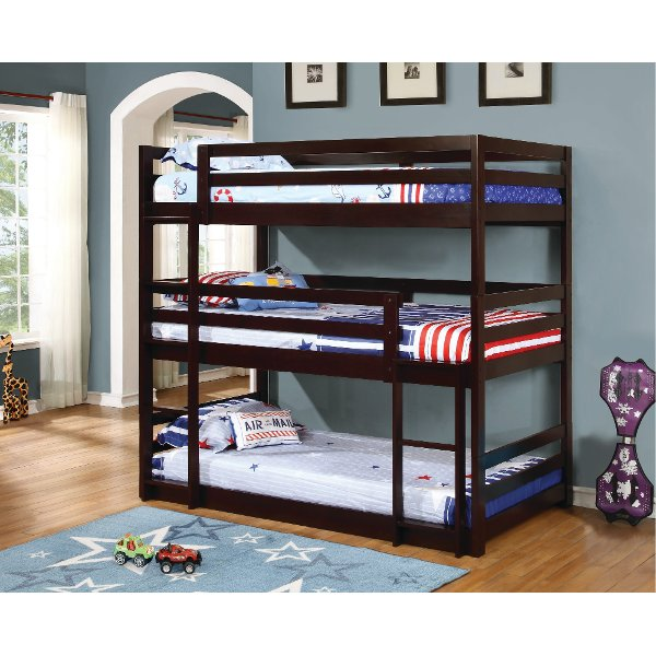 Contemporary Merlot Triple Twin Bunk Bed Milan