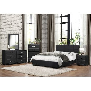 Contemporary Black 6 Piece Full Bedroom Set Lorenzi