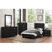 Contemporary Black 6 Piece Twin Bedroom Set - Lorenzi