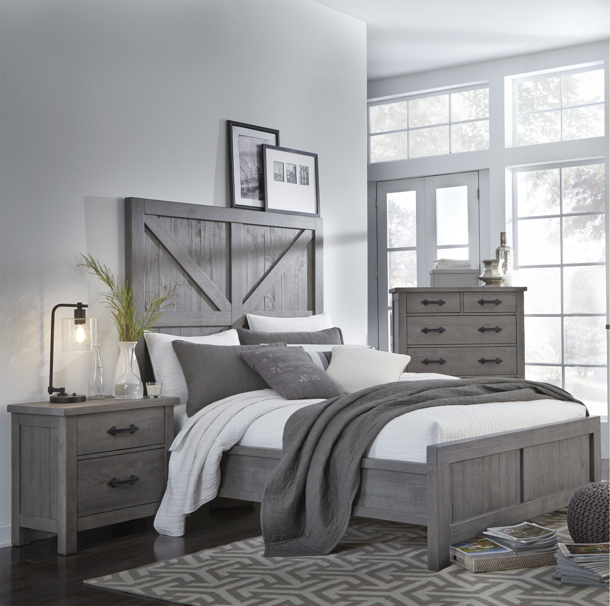 Gray Rustic Contemporary 6 Piece King Bedroom Set Austin Rc Willey Furniture Store