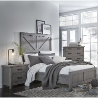 Gray Rustic Contemporary Queen Bed - Austin
