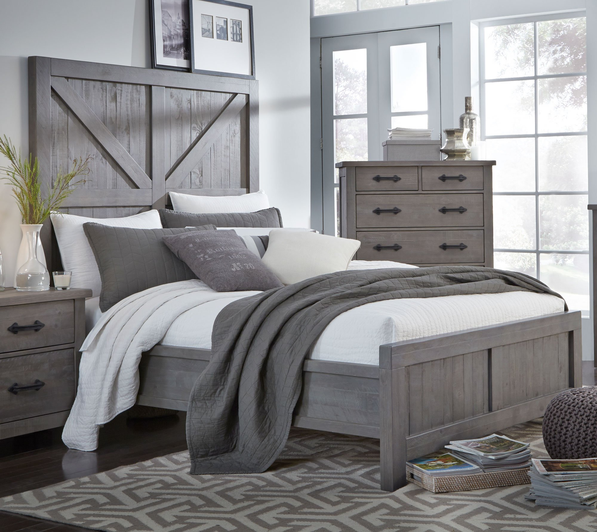 gray rustic contemporary 6 piece king bedroom set austin rc willey furniture store. Black Bedroom Furniture Sets. Home Design Ideas