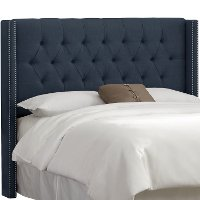 142NB-PWLNNNV Navy Blue Tufted Wingback Queen Headboard