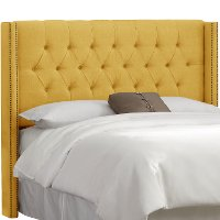 142NB-BRLNNFRNYLW Linen French Yellow Queen Diamond Tufted - Wingback Headboard