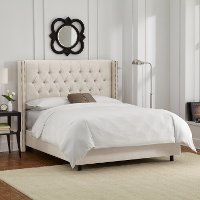 142NBBED-BRLNNTLC Linen Talc Diamond Tufted Wingback Queen Bed