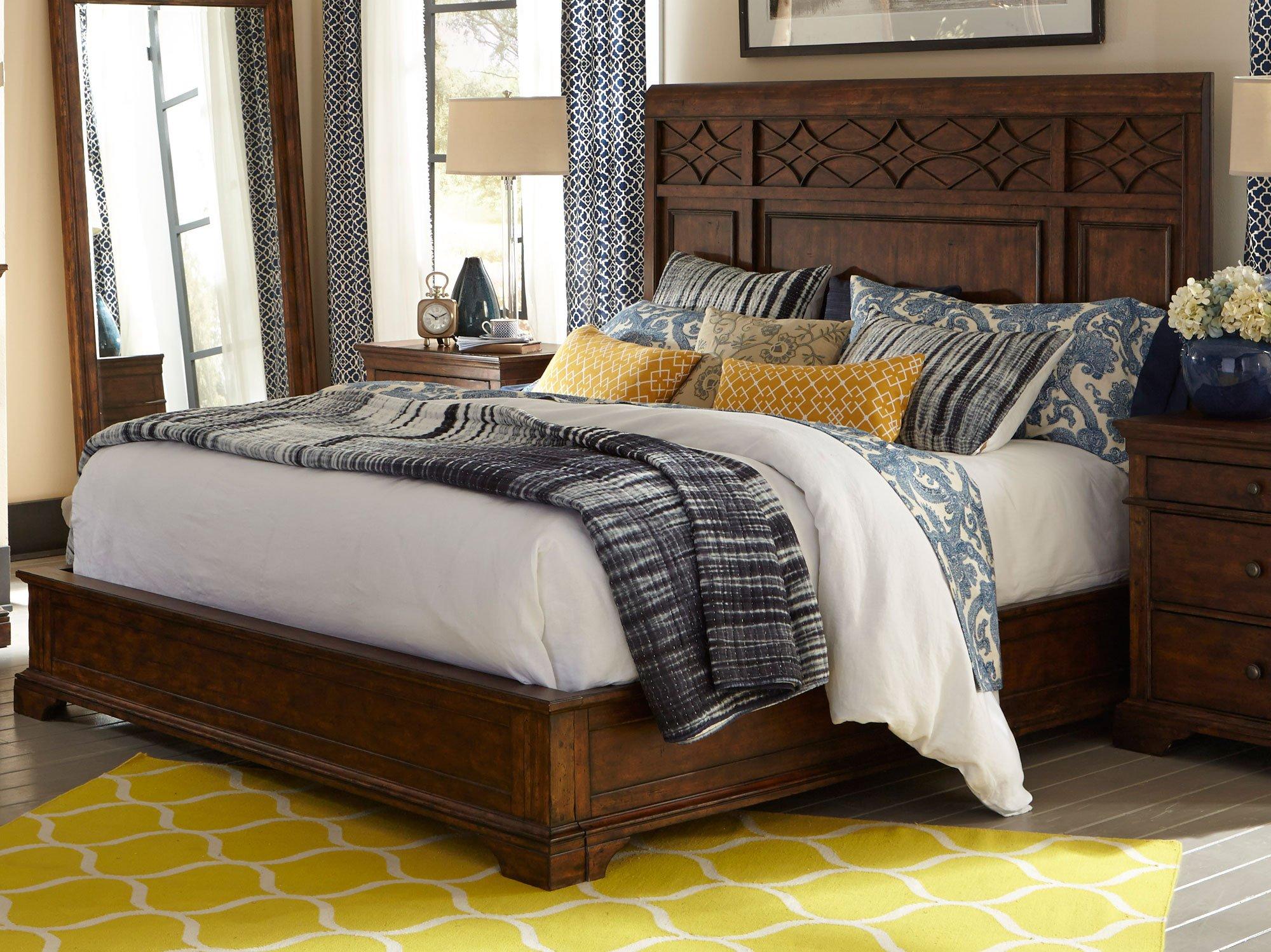 Coffee Brown Classic 6 Piece Queen Bedroom Set Trisha