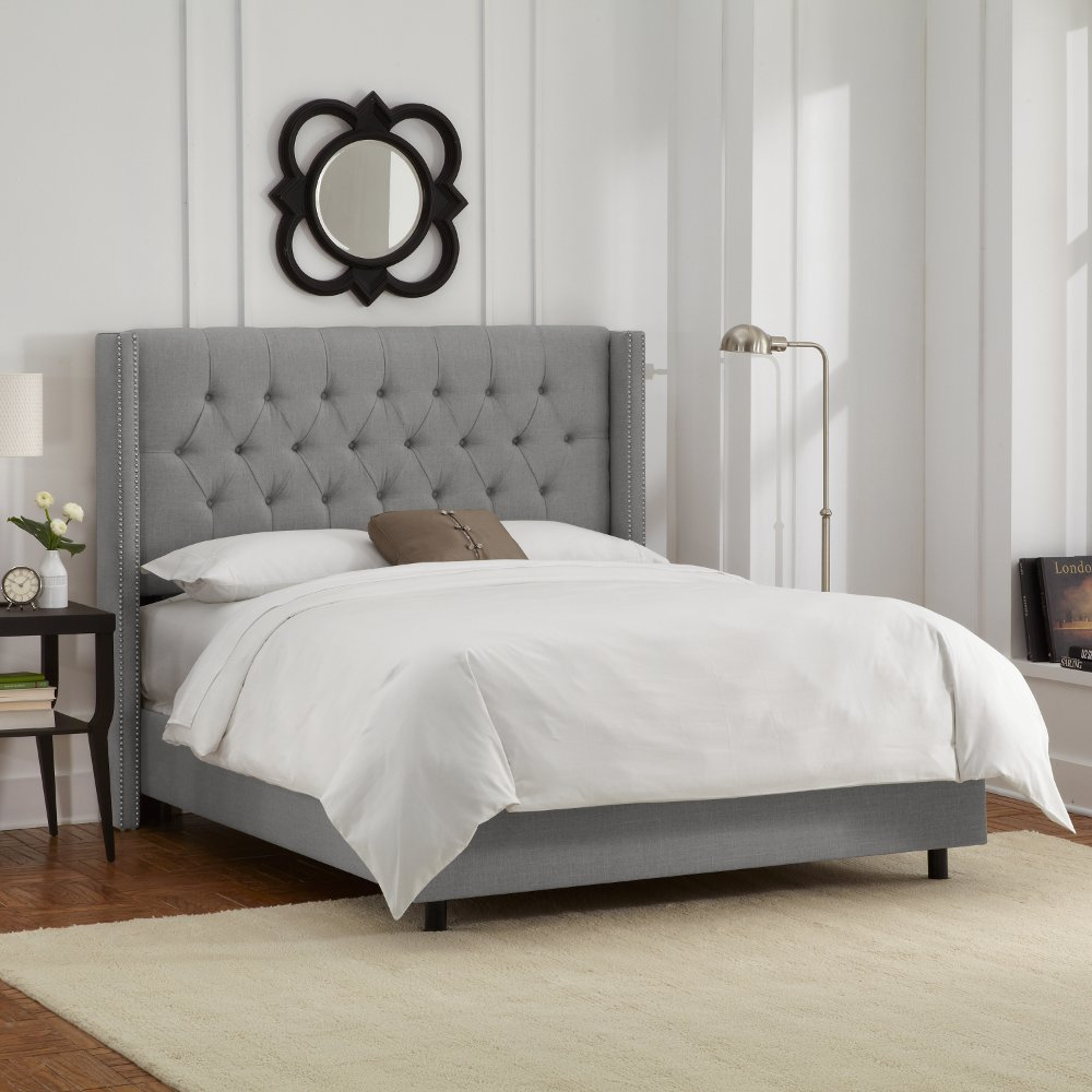 wingback tufted res overview button fbtw upholstered platform high zinus bed products