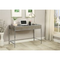 Antique Glass 2 Drawer Contemporary Office Desk - Marlena