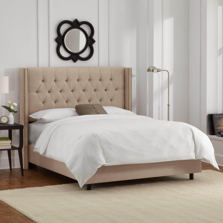 Skyline Furniturelinen Sandstone Tufted Wingback California King Bed Dailymail