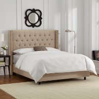 144NBBED-BRLNNSND Linen Sandstone Tufted Wingback California King Bed