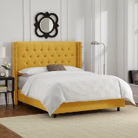 142NBBED-BRLNNFRNYLW Linen French Yellow Queen  Diamond Tufted - Wingback Bed