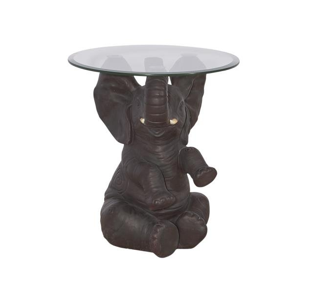 Hand Painted Elephant Accent Table with Glass Top | RC Willey ...