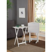 White Field Set of 4 Wooden Tray Tables - Fairfield
