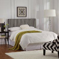482QCNPSTRBLC Black & White Stripe Upholstered Queen Size Headboard