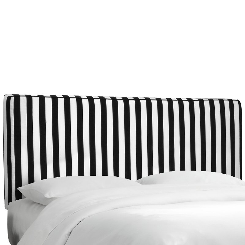 Black White Stripe Upholstered King Size Headboard Rc Willey Furniture