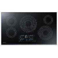 NZ36K7570RG Samsung 36 Inch Smart Smoothtop Electric Cooktop - Black Stainless Steel