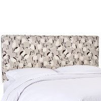 482QWNTCRNLNN Winter Crane Linen Upholstered Queen Size Headboard