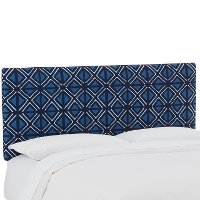 752QMDCIND Mudcloth Indigo Blue Upholstered Queen Size Headboard