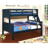 Navy Blue Classic Twin-over-Full Bunk Bed - Prismo