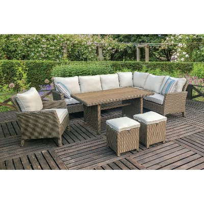 5pc Wb R1339 Arcadia Stone And Wicker 5 Piece Patio Group Arcadia