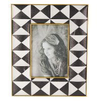 10 Inch Black and White Geometric Printed Picture Frame