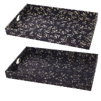 Large Floral Printed Rectangle Tray with Cut Out Handles