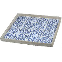 15 Inch Blue Tiled Square Tray