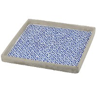 12 Inch Blue Tiled Square Tray