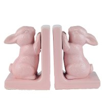 Pink Bunny Bookend Pair