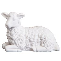 Resting White Sheep Statue