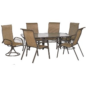 7 piece outdoor patio dining set with 2 swivel chairs mayfield